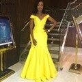 Amarillo largo de Tafetán Vestido de Noche de La Sirena Del Hombro Correas Vestidos de Las Mujeres Formales Elegantes Vestidos Del Partido Africano SAU459