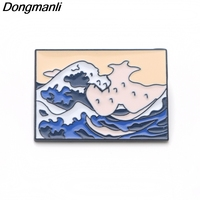 20 pcs/lot Wholesale Pins DMLSKY Cool Enamel Brooch The Great Wave Off Kanagawa Brooches For Women Men Tie Pins Badge M2936