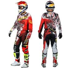 Мужской профессиональный спортивный костюм для мотокросса из полиэстера, футболка и штаны с цветным принтом