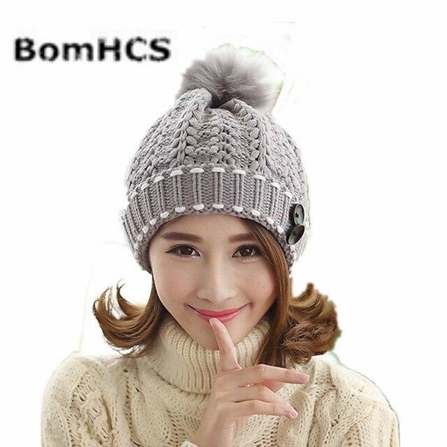 8b38c65d550c7c BomHCS Fashion Cute Autumn Winter Warm Knit Snow Hat Beanie Crochet Cap Hats  With Hair Ball