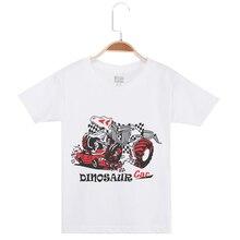 цены 2019 Boy Brand Tshirt Child Tee Shirt Boys Fashion White T Shirts Tops Cotton Short Sleeve Tees Dinosaur Print Children Clothing