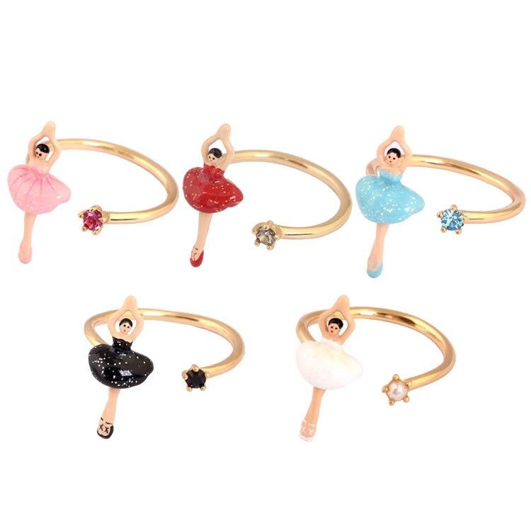 French Classic Jewelry Paris Enamel Glaze Mini New Ballet Dancer Girl Series Adjustable Women Ring