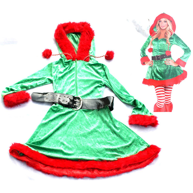 Plush velvet green adult Christmas party women christmas elf Santa Claus dress costume  clothes