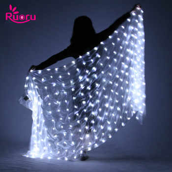Ruoru Belly Dance LED Silk Veil Light Up Belly Dance Stage Performance Props 100% Silk Belly Dancing Accessories White Rainbow - DISCOUNT ITEM  39% OFF All Category