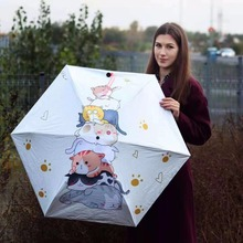 Five fold  five times black coating anti-uv umbrella alloy anti-thunder fiberglass digital 3D printing cats bag parasol