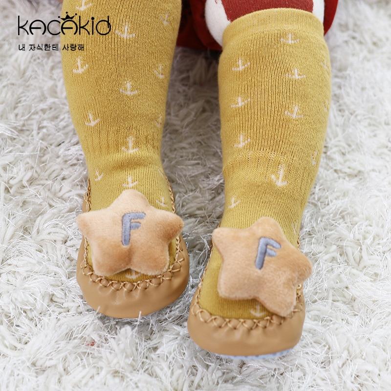 New Winter Warm Terry Socks Anti-slip Baby Floor Sock Cartoon Animal Infant Kids Indoor Pre-walk Shoe Leather Sole Slipper Boots