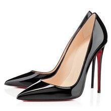 2017 mode pompes ultrafine poudre bout pointu à talons hauts en cuir verni pompes bouche peu profonde chaussures de soirée
