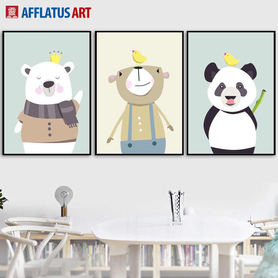 Kartun Crown Bear Panda Bird Wall Art Lukisan Kanvas Poster dan Cetakan Nordic Poster Hewan Dinding.jpg q50