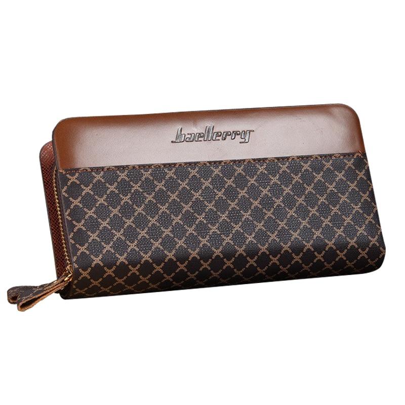 baellerry brand Netted Pattern Designer Long Men's leather wallet Male clutch bag double zippers purse for man billetera hombre