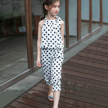 Baby Girl Summer Dot Clothing Set Off Shoulder Sleeveless Chiffon Top Pants Outfit Teenage Girls Clothing