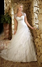 New 2015 Romantic Sweetheart White Layered Organza Wedding Dress Bridal Gown Free shipping Custom made All size vestido de noiva
