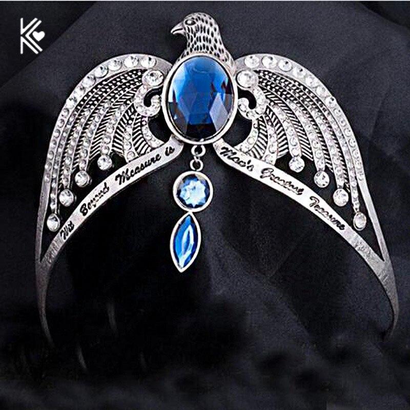 Ravenclaw Verlieren Crown Horkrux Brauthaarbänder Antike Silber Adler Tier Blau Kristall Stirnbänder Hochzeit Haar Zubehör