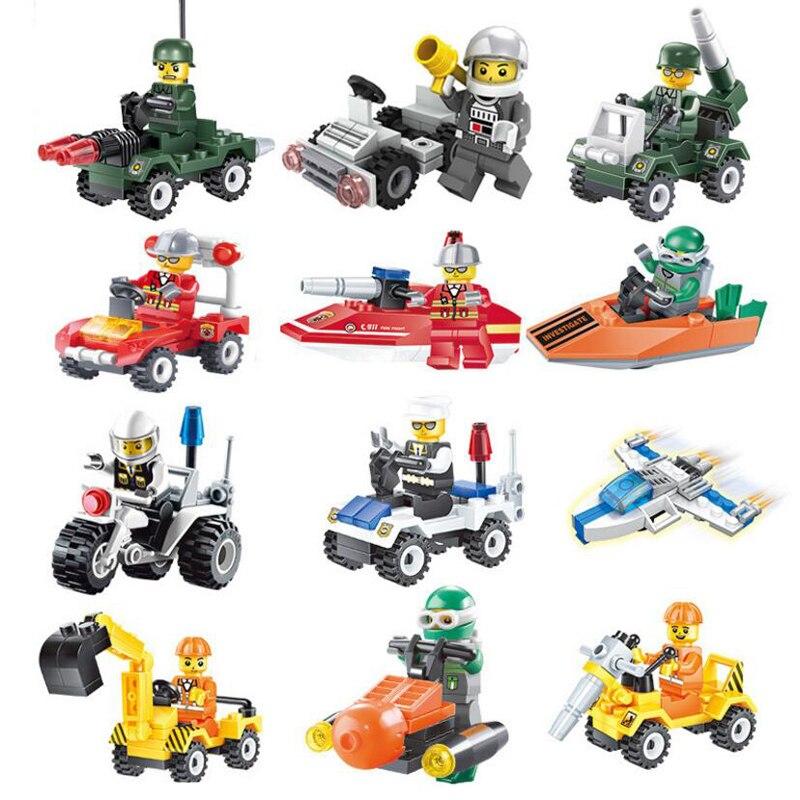 1PCS Mini Construction Team Car Building Blocks Sets Assembled Models Playmobil DIY Bricks Education Gift Toys For Children Kids