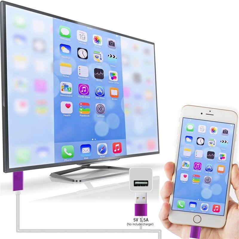 imágenes para Para que el Rayo al Cable de HDMI Para el iphone 5S 5 6 6 S 7 más iPad mini Adaptador de Conector $ number Pies 1080 P HD HDTV USB de Alta Velocidad conector