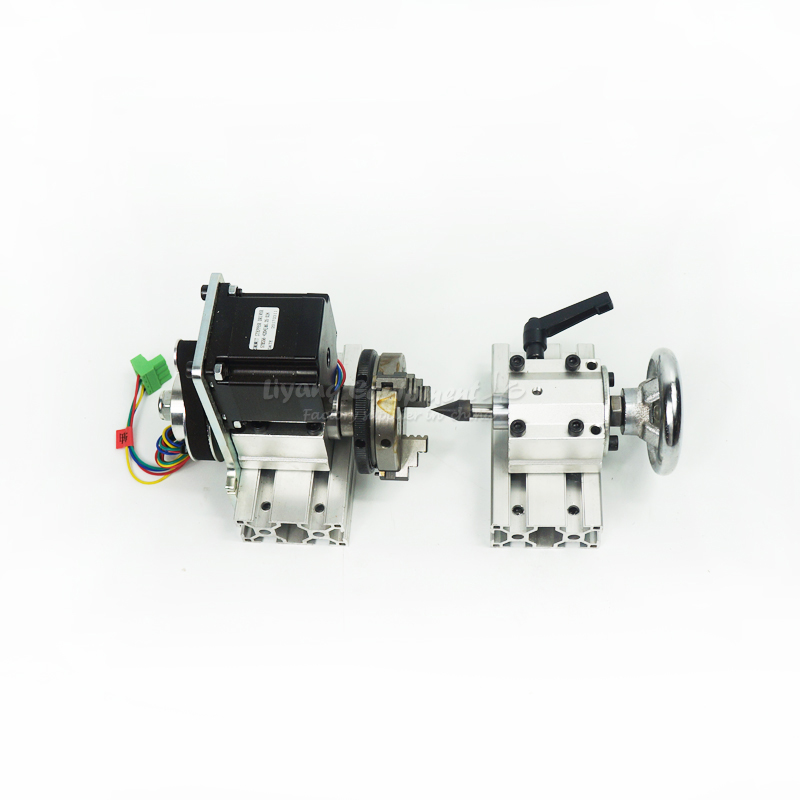 Mini DIY CNC parts 4th axis Rotary axis with chuck for CNC Router woodworking milling and drilling machine