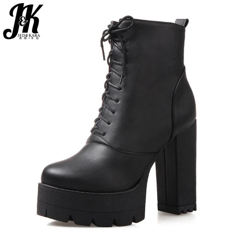 J&K Plus Size 34-43 Fashion High Heels Winter Rubber Boots For Women Thick Heels Platform Skid Proof Shoes Women Ankle Boots plus size 34 43 2016 patch color ankle boots thick high heels skid proof platform shoes woman rivets lace up fall winter boots