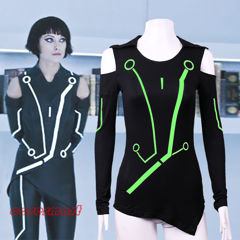 New 2016 Marvel Comic Superhero T-shirt Cosplay Tron Legacy Tights Bodybuilding T-shirt Fluorescence Halloween Party Prop image