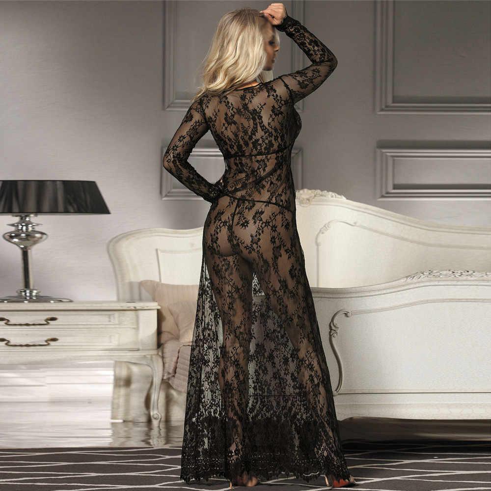 Plus Size Sexy Babydoll Dessous Erotische Frauen Schwarz Spitze Kostüm Nachtwäsche Kleid Transparenten Hohl-out Chemise Unterwäsche