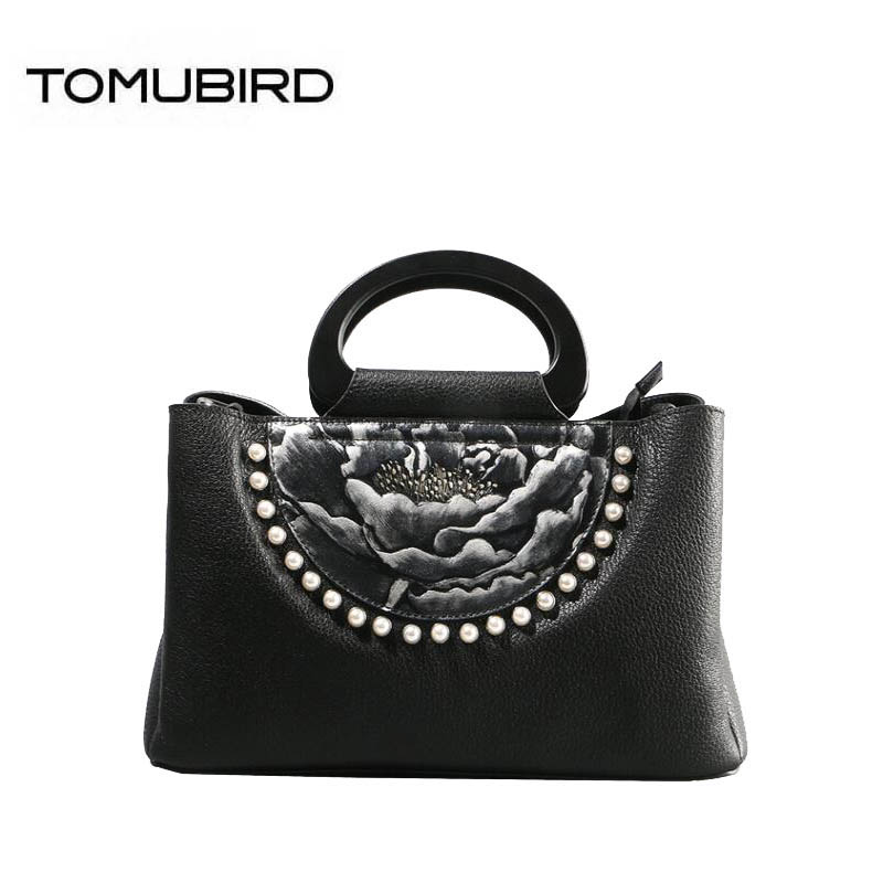 TOMUBIRD 2018 new Cowhide women genuine leather bag handmade embossing Flower schoudertas dames tote women leather shoulder bags ladylike women s tote bag with solid color and daisy embossing design