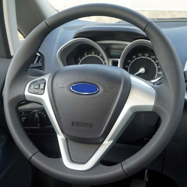 Black Genuine Leather Car Steering Wheel Cover For Ford Fiesta 2008