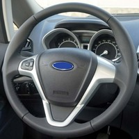 black Genuine Leather Car Steering Wheel Cover for Ford Fiesta 2008 2014 Ecosport 2013 2017 car covers for steering wheel