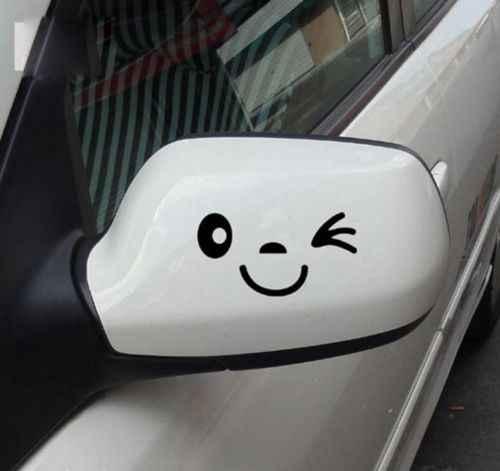 3D gülümseme yüz sevimli araba Styling çıkartması için siyah etiket oto araba yan ayna L + R dikiz