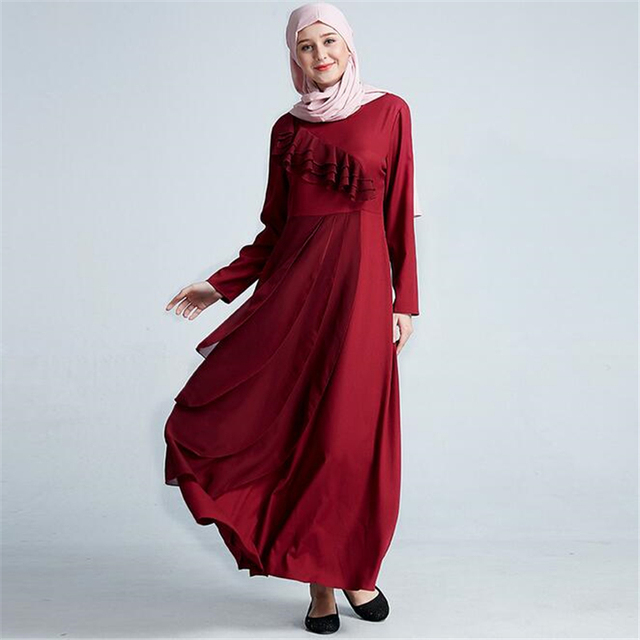 25b9232126 Fashion Ladies Malay indonesia muslim evening dress 2019 Women long sleeve maxi  abaya dress with flounce