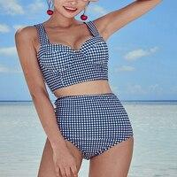 Summer Two Pieces Plaid Bikinis Set Women S High Waist Bandage Sexy Blue Beachwear Bathing Suit