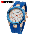 Curren Mens Wristwatch Top Brand Luxury Silicone Band Man Sports Watches Shock Resistance Relogio Masculino Quartz Watch Clock