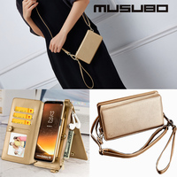 Musubo Brand Fashion Flip Luxury Leather Case For Samsung Note 8 9 Cover for Galaxy S8 S9 S10 Plus Case Shoulder Bag Design