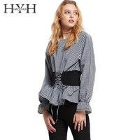 HYH HAOYIHUI 브랜드 패션 여성 격자 무늬 셔츠 2017 허리 벨트 여성 블라우스