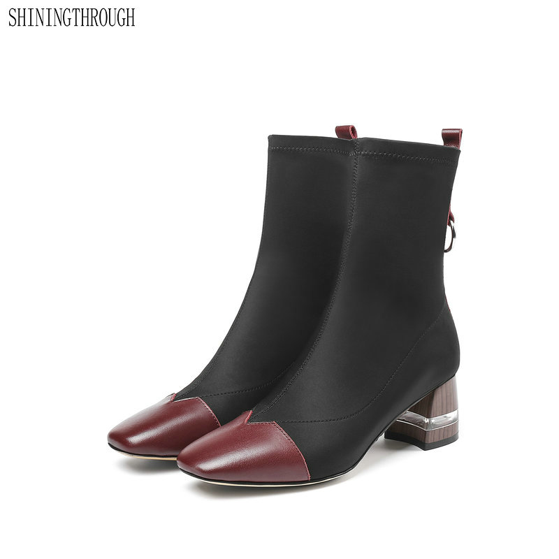 Women Ankle Boots Cow Leather Autumn Winter Warm High Heels Shoes Woman square Toe Elegant Office Career Shoes large size 41 42Women Ankle Boots Cow Leather Autumn Winter Warm High Heels Shoes Woman square Toe Elegant Office Career Shoes large size 41 42