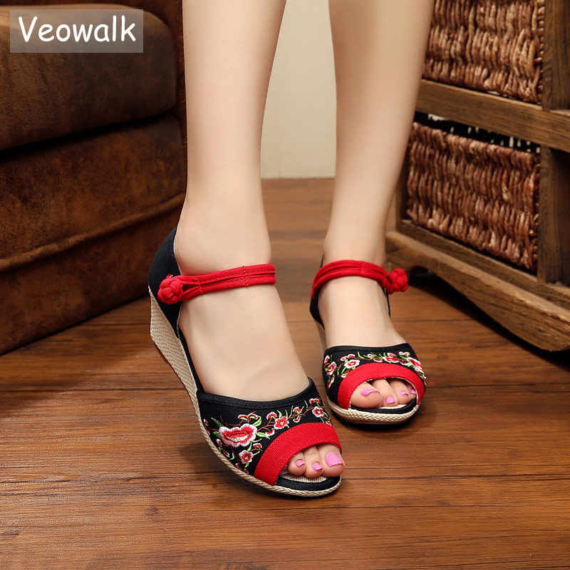07a461df7177 Veowalk Summer Women s Open Peep Toe Canvas Sandals with Palms Bottom Retro  Ankle Strap Ladies Casual