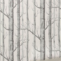 Birch Tree Pattern Non Woven Woods Wallpaper Roll Modern Designer Wallcovering Simple Black And White Wallpaper