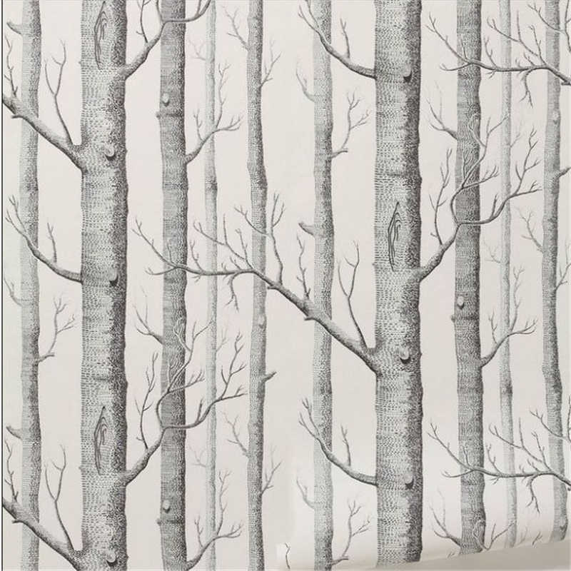beibehang Birch Tree pattern non-woven woods wallpaper roll modern designer wallcovering black and white wallpaper living roombeibehang Birch Tree pattern non-woven woods wallpaper roll modern designer wallcovering black and white wallpaper living room