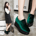 European Style Square Toe Women Thick Bottom Platform Creepers Solid Lace Up Female Punk Elevator Flats Shallow Suede Leather