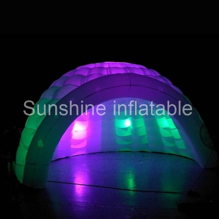 Tente gonflable blanche d'igloo de 5 m avec la tente gonflable de dôme de luna de lumière LED pour l'événement de partie