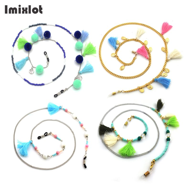 HOT 1PC Fashion Beads Eyeglass Chains With Tassel Metal Sunglasses Reading Glasses Chain Eyewears Cord Holder Neck Strap Rope