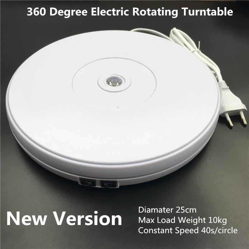 10 25cm Led Light 360 Degree Electric Rotating Turntable for Photography accessories Max Load 10kg 220V 110V fotografia цена