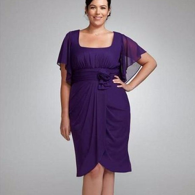 Mother Of The Bride Dress 2017 Sleeve Chiffon Knee Length Short Plus Size Simple Summer Purple