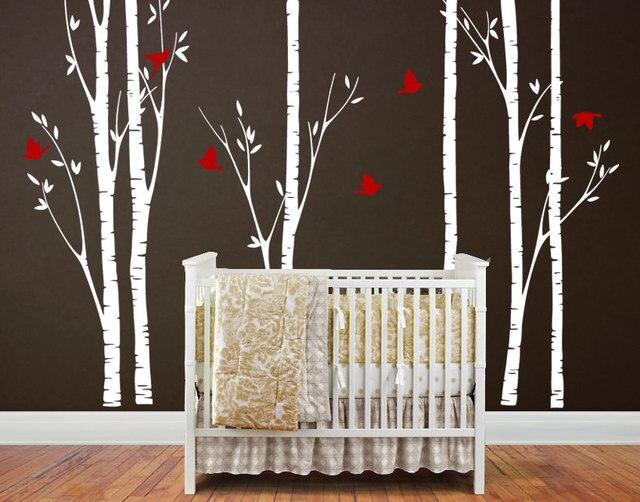 Große Birken Mit Fliegende Vögel Wandaufkleber Diy Kinder Baby Kinderzimmer  Schlafzimmer Decor Vinyl Poster Fashion Baum