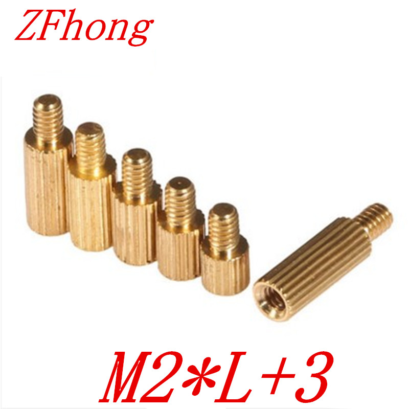 50pcs/lot M2*L+3 2mm  Brass Round Standoff Spacer Male Female M2 Brass Threaded Spacer m2 3 3 1pcs brass standoff 3mm spacer standard male female brass standoffs metric thread column high quality 1 piece sale