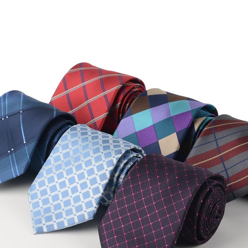 TieSet Mens Polyester Silk Tie 8cm Big Narrow Plaid Necktie Casual Gravata Wedding Party Business Office T-171