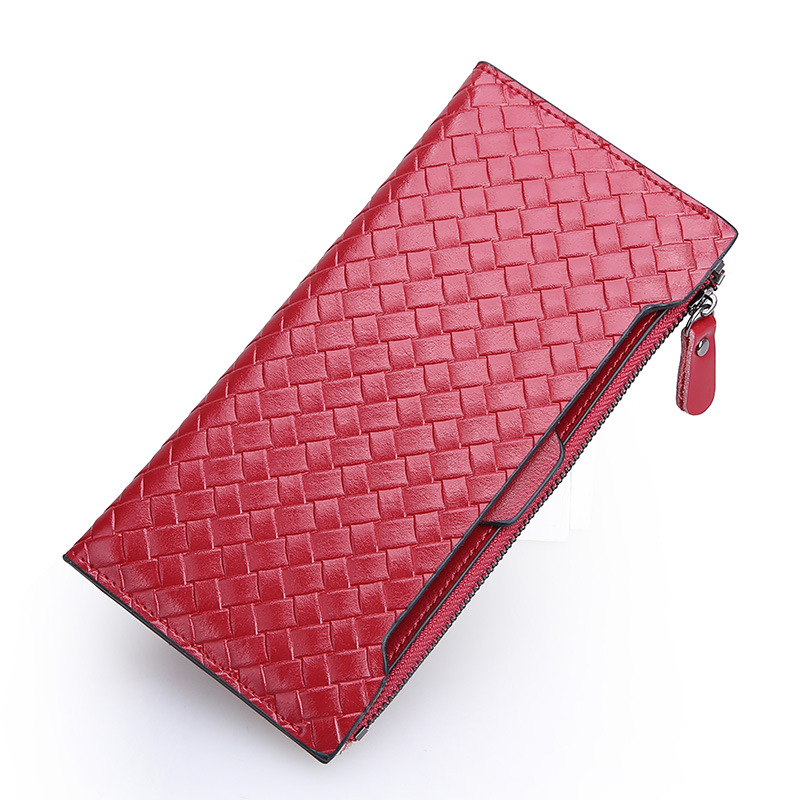 100% Genuine Leather Wallet Women High Quality knit Long Purse Fashion Female Wallets Card Holder