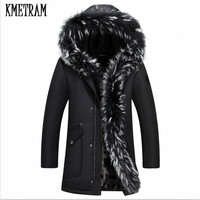 KMETRAM 2019 Winter Jacket Men Coats For Men Fahsion Down Jackets Real Raccoon Fur Hooded Male Outerwear Windproof Couples HH483