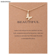 Fashion Reminders Beautiful Enchanted Butterfly Gold-color Charm Maxi Necklace Women