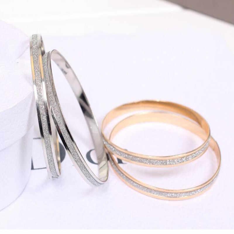 2018 корейские ювелирные изделия оптом модный двойной матовый браслет из розового золота женский браслет-одна цена