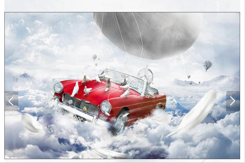 Customized 3d photo wallpaper 3d wall murals wallpaper Imagination art mural flying car  ...