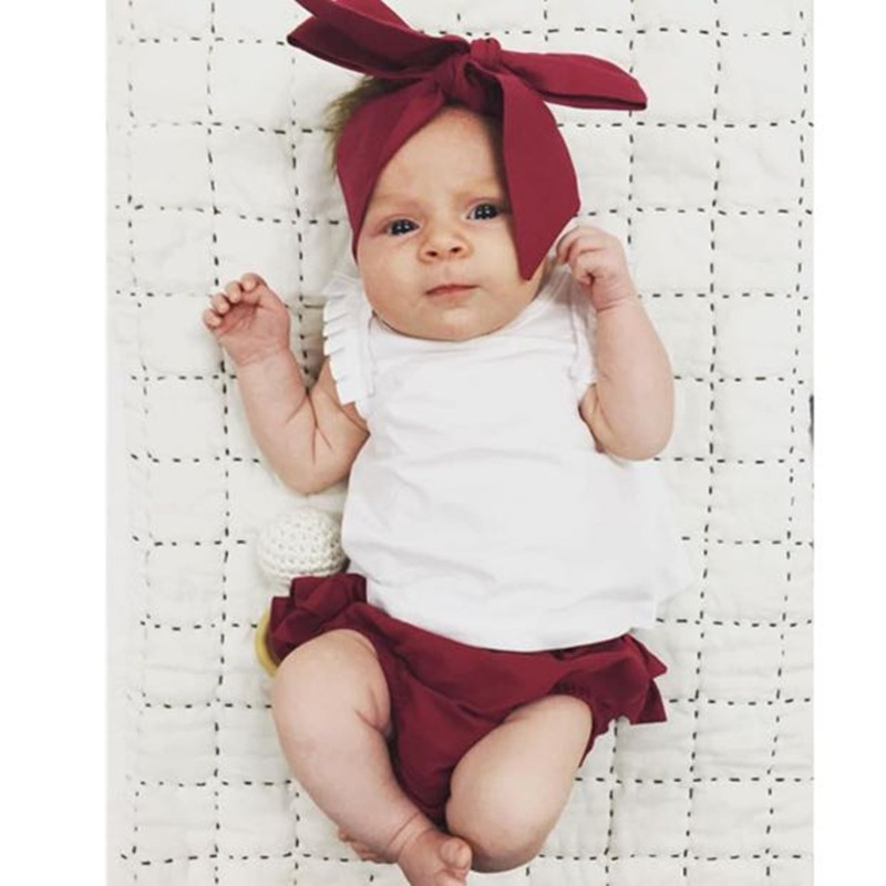 d80bbc4f071e 3 PCS Child Toddler Baby Girl Clothing Tops Summer Top Rabbit Sleeveless  Bottoms Headband Outfit Clothes Baby Girls Set Tags