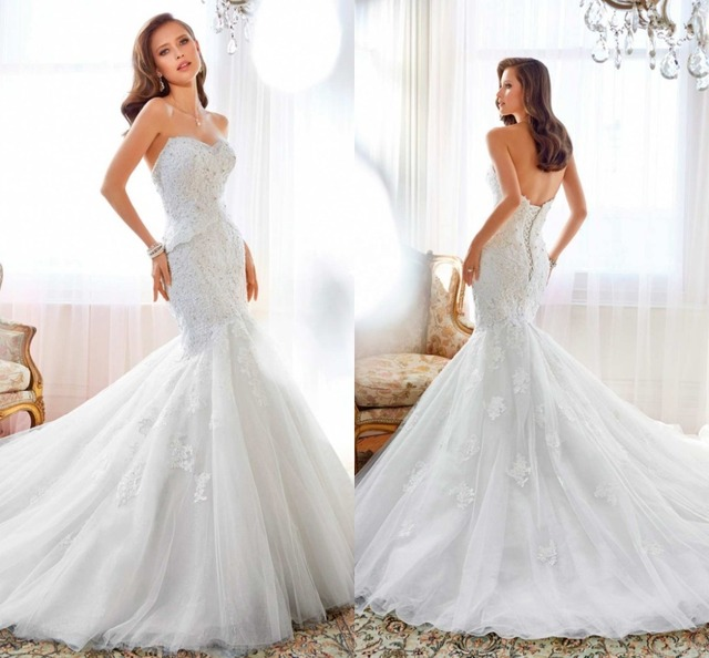 designer wedding dress sweetheart neck lace appliqued mermaid wedding dress australia bridal wedding dress